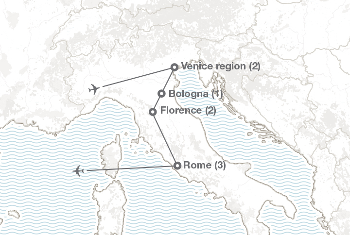 Explore Italy destination map