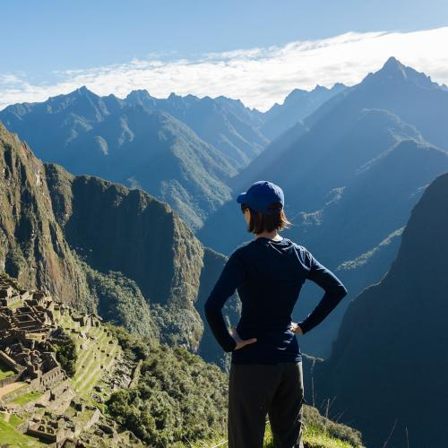 Person overlooking Machu Picchu