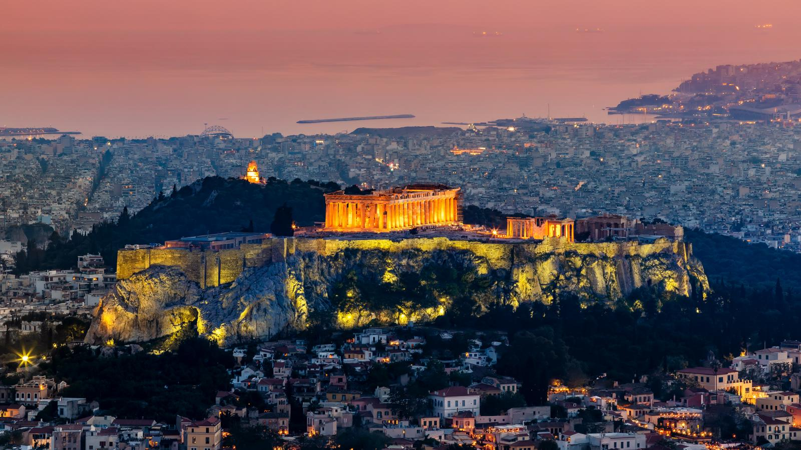 Scenic Panoramic view of Acropolis in Athens
